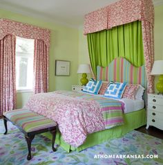 Interior design by Tobi Fairley | Photography by Nancy Nolan | At Home in Arkansas | http://www.athomearkansas.com/article/new-traditional-0#  #pink #green #family