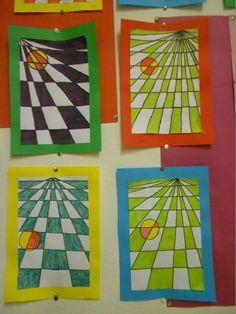 1punt perspectief. kleuren met stift, groep 8