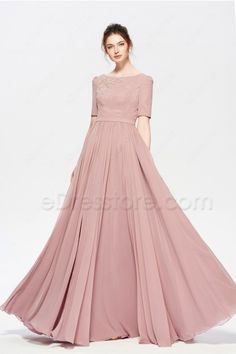 Dusty Rose Modest Beaded Bridesmaid Dress with Slit Short Sleeves - Modern Wisteria Bridesmaid Dresses, Bridesmaid Dresses With Sleeves, Evening Dresses With Sleeves, Indian Gowns Dresses, Indian Fashion Dresses, Dress Indian Style, Modest Dresses, Stylish Dresses, Bride Dresses