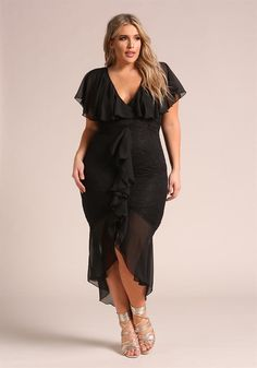 Plus Size Clothing   Plus Size Chiffon Lace Waterfall Ruffle Midi Dress   Debshops