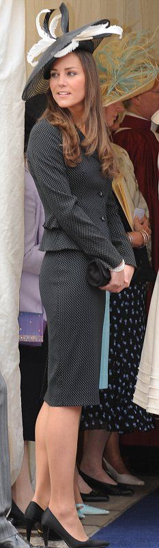 Kate Middleton at Prince William's investiture as a Knight of the Garter in 2008.