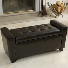 Shop for Bosworth Tufted Espresso Leather Storage Ottoman by Christopher Knight Home. Get free shipping at Overstock.com - Your Online Furniture Outlet Store! Get 5% in rewards with Club O!