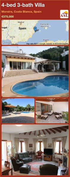 4-bed 3-bath Villa in Moraira, Costa Blanca, Spain ►€375,000 #PropertyForSaleInSpain