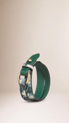 (Burberry | Teal Printed Leather Wraparound Bracelet)