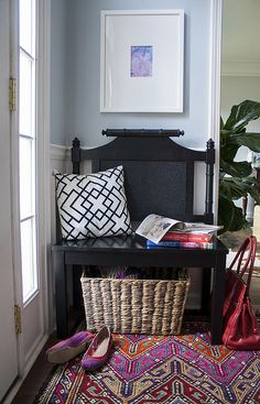 <3 this entryway and the bench the homeowner's made out of a headboard!