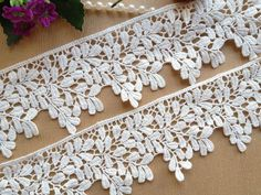 White Cotton Venice Leaves Lace Trim 2.36 Inches by lacelindsay