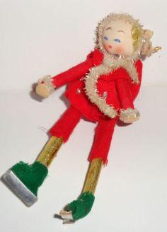 Vintage-Christmas-felt-elf-girl-on-ice-skates-5-034-decoration-ornament-Japan