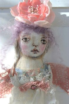 sweet folk art angel doll. Karen Milstein, artist--my favorite! FadedWest on eBay.