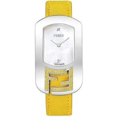 FENDI Women's Chameleon Watch ($799) ❤ liked on Polyvore featuring jewelry, watches, yellow, stainless steel jewelry, stainless steel jewellery, stainless steel wrist watch, yellow jewelry and stainless steel watches