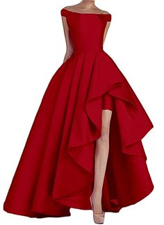 Kevins Bridal Women's Off Shoulder Long Evening Prom Dresses High Low Formal Gowns Red Size 20W