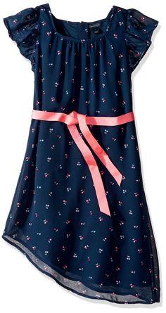 Tommy Hilfiger Little Girls' Cherry Printed Chiffon Dress, Flag Blue, 6. Flutter sleeves. Asymmetrical hem. Bow at waist. Allover cherry print.