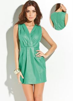 Vestido Resinado Verde Vestidos Mini Moda Feminina