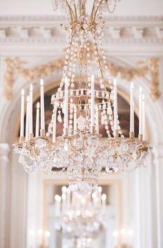 A stunning, sparkling chandelier in Versailles.