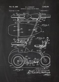 poster by from collection. Bicycle Sidecar, Sidecar Motorcycle, Tricycle Bike, Patent Drawing, Mini Bike, Classic Bikes, Mechanical Engineering, Print Artist, Good Company