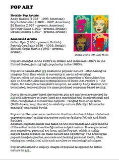 Pop Art. Fact Sheet. Blue Sparrows Art Club