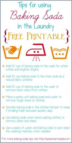 Lots of tips for using baking soda in the laundry & a FREE printable - Ask Anna