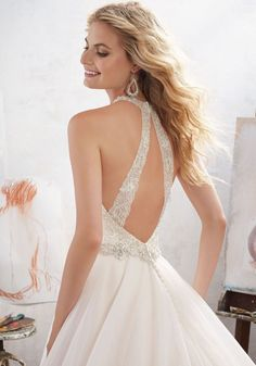 STYLE NUMBER: Wedding DressThis Romantic Bridal Ballgown Features an Embroidered AppliquéŽ Trimmed Bodice with Crystal Beading and Tulle Skirt. Beaded Illusion Double Straps Accent the Back. Shown in Ivory/Champagne. Wedding Dresses With Straps, Bridal Wedding Dresses, Wedding Dress Styles, Designer Wedding Dresses, 2017 Wedding, Tulle Wedding, Party Wedding, Dream Wedding, Tulle Ball Gown