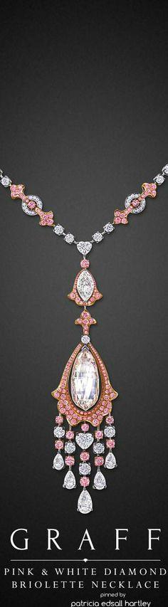 Pink & White Diamond Briolette Necklace.
