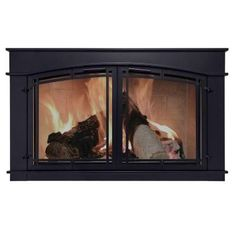 Pleasant Hearth Alpine Black Small Cabinet Style Fireplace Doors