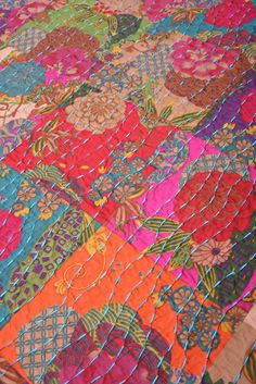 Boho Quilt | ... Boho Cotton Quilt Set reverse Safia Jewel Tone Retro Boho Cotton Quilt I love the stitching!