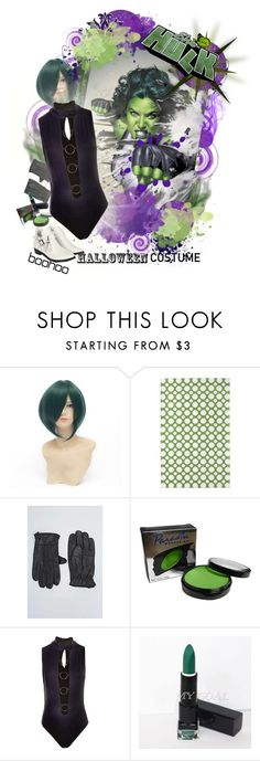 """Boohoo Halloween costume she-hulk"" by virtual-closet-collector ❤ liked on Polyvore featuring PBteen, Mehron and Boohoo"