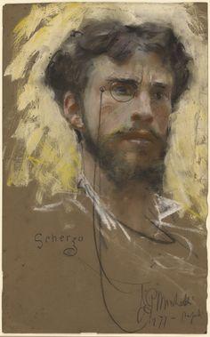 Francesco Paolo Michetti (Italie, 1851-1929) – Autoportrait (1877) Pastel et gouache sur papier brun, J. Paul Getty Museum, Los Angeles