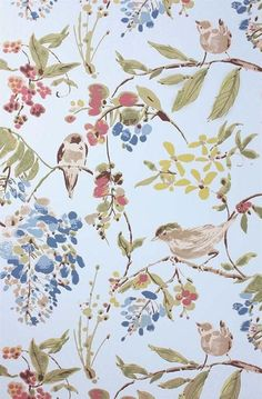 """Penglai Wallpaper by Nina Campbell 11 yd X 20.5"""" Wide 24"""" Repeat A glimpse of informality in the Imperial Garden with this charming design inspired by the effortless brushstrokes of Chinese ink wash paintings. Cheerful birds are depicted amidst blossom laden branches, named after an ancient legend set in a garden."""
