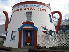 Bob's Java Jive Restaurant in Tacoma, WA Building Art, World Famous, Java, Architecture, Tacoma Washington, Buildings, Restaurant, Arquitetura, Diner Restaurant