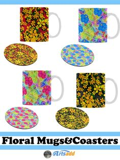Pretty Drink Ware - Floral Pattern Mugs and Coasters from #Artsadd  #Gravityx9 #homedecor -