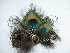 Shades of Brown & Ivory Peacock Feather Vintage Mini Fascinator Hair Clip