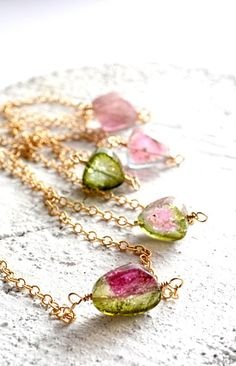 Watermelon tourmaline layering necklace gold by KahiliCreations, $147.00