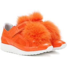 Pierre Hardy Fur-Trimmed Suede Sneakers (3 900 PLN) ❤ liked on Polyvore featuring shoes, sneakers, orange, suede leather shoes, pierre hardy shoes, suede trainers, orange suede shoes and suede sneakers
