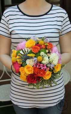 A colourful bouquet , filled with mini-roses, pink peonies and yellow ranunculus. Classic round shape, always in style Bridal Bouquet Coral, Live Coral, Mini Roses, Ranunculus, Pink Peonies, Summer Wedding, Joy, Shapes, Bride
