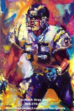 Junior Seau by Mark Gray Sports Baseball, Sports Art, Football Art, Football Players, Sports Painting, Childhood Games, San Diego Chargers, Man Cave, Cool Art