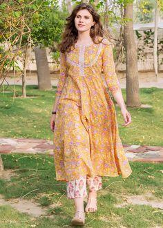 White and Yellow Block Print Kurta Pant Set Designs For Dresses, Dress Neck Designs, Blouse Designs, Simple Kurta Designs, Kurta Designs Women, Pakistani Dresses Casual, Pakistani Dress Design, Cotton Long Dress, Kurta Neck Design