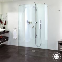 Aqata Spectra luxury curved wet room walk through shower screen. Handmade in the UK. Wet Room Shower Screens, Shower Doors, Walk Through Shower, Walk In Shower, Large Wooden Crates, Wet Room Flooring, Quadrant Shower, Screen Enclosures, Double Shower