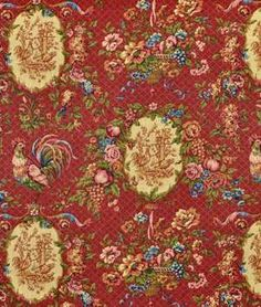 Waverly Saison De Printemps Bordeaux Fabric - $23.85 | onlinefabricstore.net