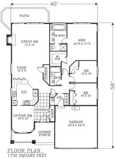1732 sf.  No basement stairway/access. First Floor Plan of Bungalow   Craftsman   Narrow Lot   House Plan 46106