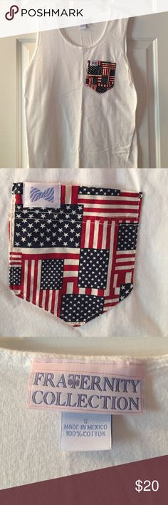 Fraternity Collection American Flag Pocket Tank American Flag pocket on white tank Fraternity Collection Tops Tank Tops