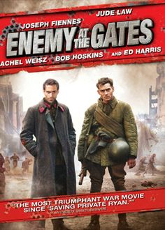 """Enemy of the Gates"" - Joseph Fiennes - Jude Law - Rachel Weisz - Bog Hoskins - Ed Harris - DVD cover art - 20th Century- Fox."