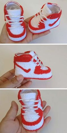 Crochet baby 353110427031996881 - Crochet Nike Air Source by remlyns Crochet Baby Boots, Crochet Baby Sandals, Booties Crochet, Crochet Baby Clothes, Crochet Shoes, Crochet Slippers, Baby Booties, Diy Crafts Crochet, Crochet Projects