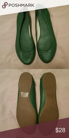 J. Crew Ballet flats-worn once! Kelly green fun summer ballet flat. So cute with white pants! Only worn one-like new! J. Crew Factory Shoes Flats & Loafers
