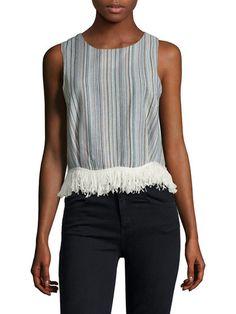 Linen Fringe Trim Top por Lucca Couture en Gilt
