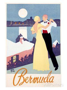Pan Am American Airline Bermuda Travel Poster Ad by Vintagemasters