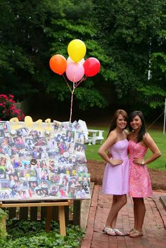 have all the guest at your grad party bring any picture they have with you, put it on a bulletin board and bring it to your dorm room.
