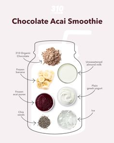 This Chocolate Acai Smoothie has the classic flavor of a traditional acai bowl, but with a chocolate-y twist to balance the tartness! Frozen Banana, Protein Powder Recipes, Protein Shake Recipes, Yummy Drinks, Healthy Drinks, Acai Smoothie, Organic Chocolate