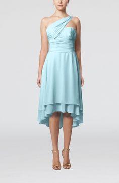 Turquoise Simple A-line One Shoulder Zipper Chiffon Knee Length Homecoming Dresses - iFitDress.com