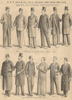 Different men's jacket styles from the 1890s, including overcoats, business coats, and sack coats. Hat styles are various, too. Bustle Period.