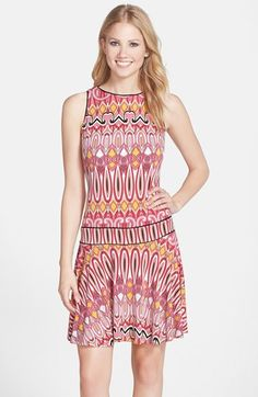 Free shipping and returns on Donna Morgan Print Jersey Fit & Flare Dress at Nordstrom.com. An optic cosmopolitan print refreshes this sleeveless sundress while the dropped-waist design hugs the hips.