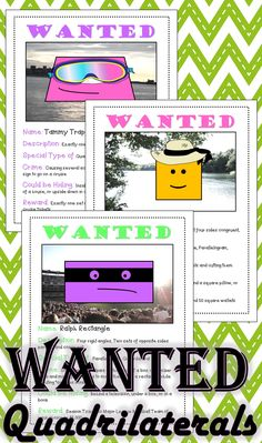 Quadrilateral Activity: Help find these Quadrilateral Criminals! Math Literacy, Math Classroom, Fun Math, Teaching Math, Teaching Ideas, Math Enrichment, Teaching Time, Numeracy, Classroom Ideas